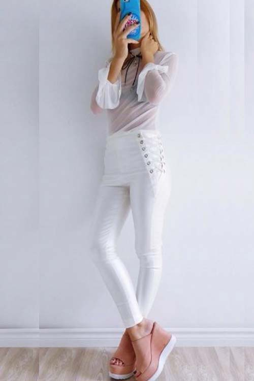 pantalon engomado color blanco