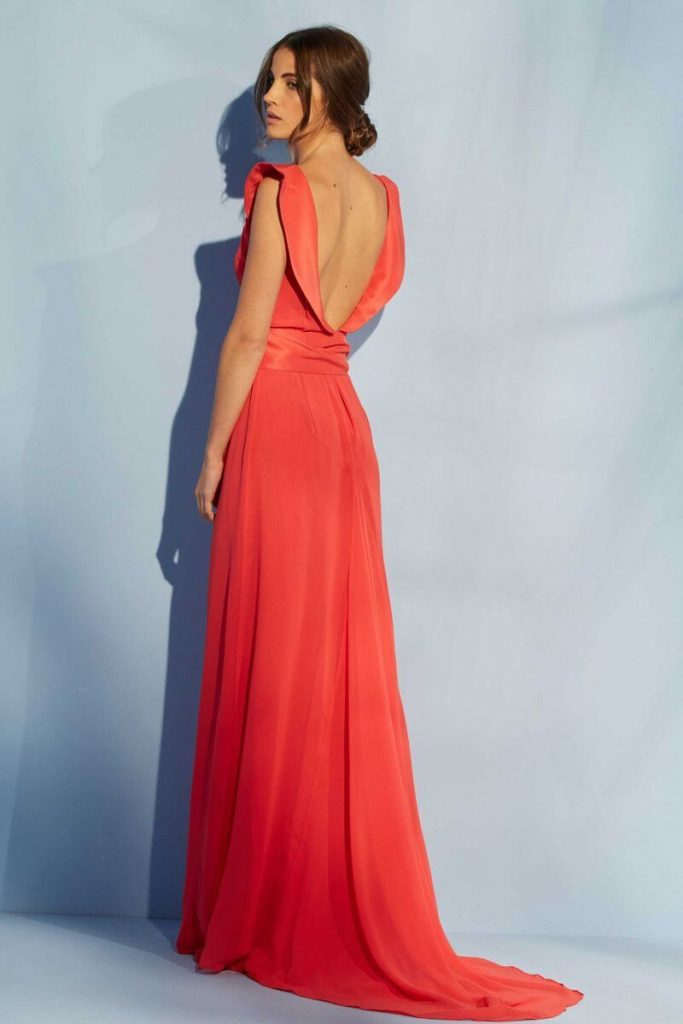 vestidos al tobillo color coral