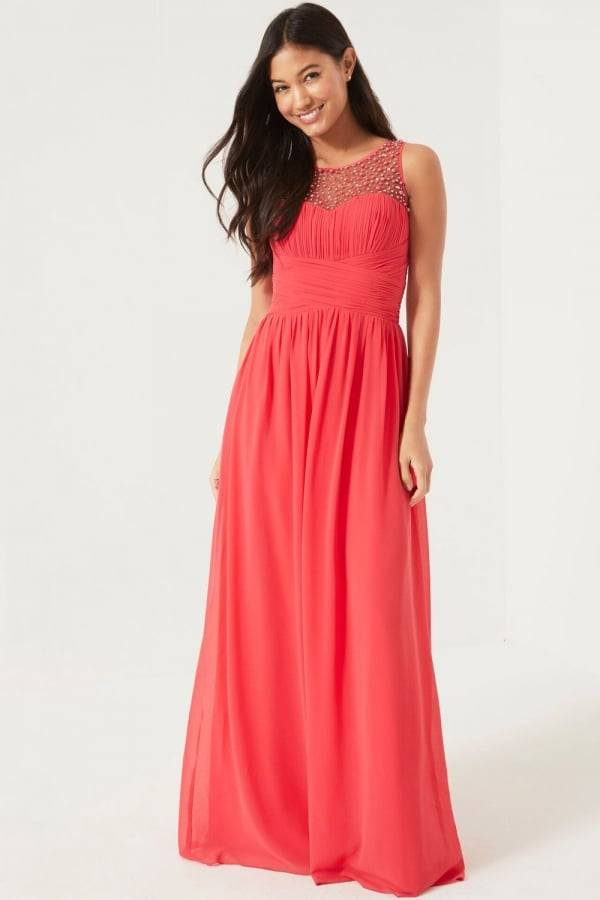 vestidos color coral largos outfit